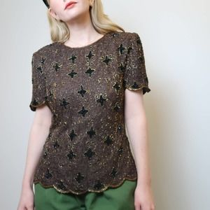 Vintage 80's brown sequin and beaded top
